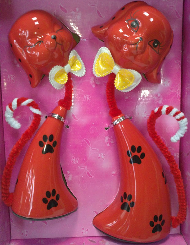 Red ceramic puppy love