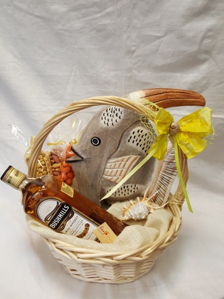 Basket with wooden fish