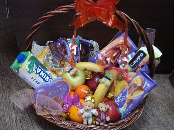 Basket with Lots of Fruits and Chocolate