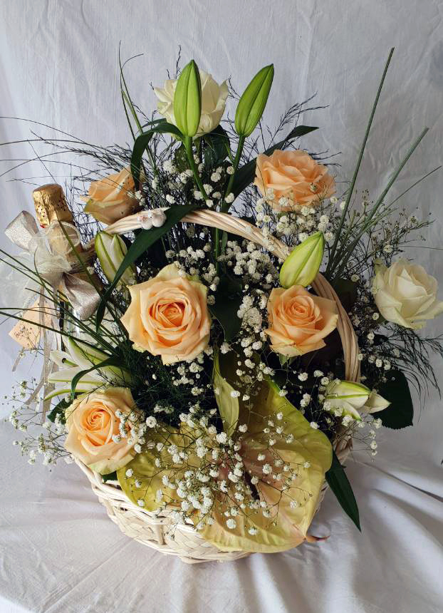 Flower Basket with Roses