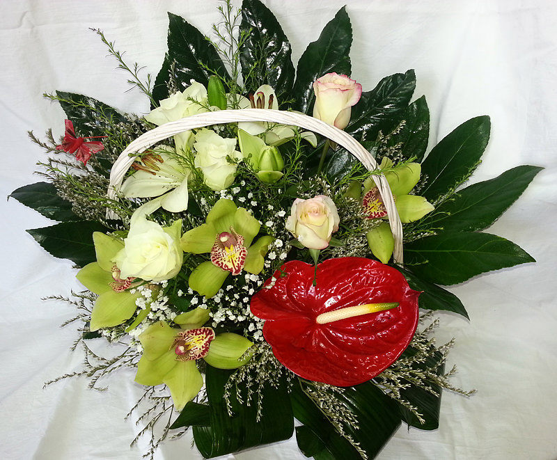 Floral Basket with roses and orchids