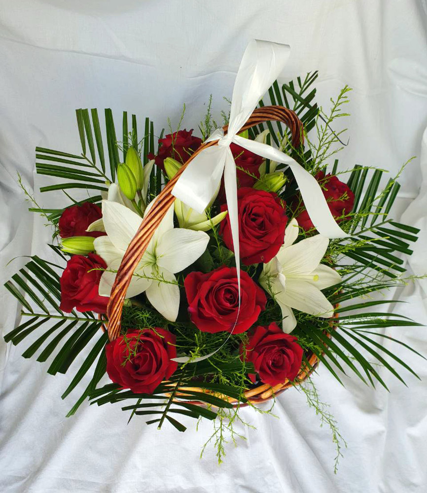 Flower Basket with Roses and Lily
