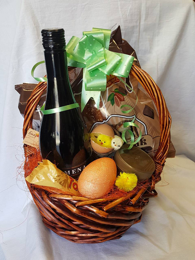 Easter Basket with wine and coffee