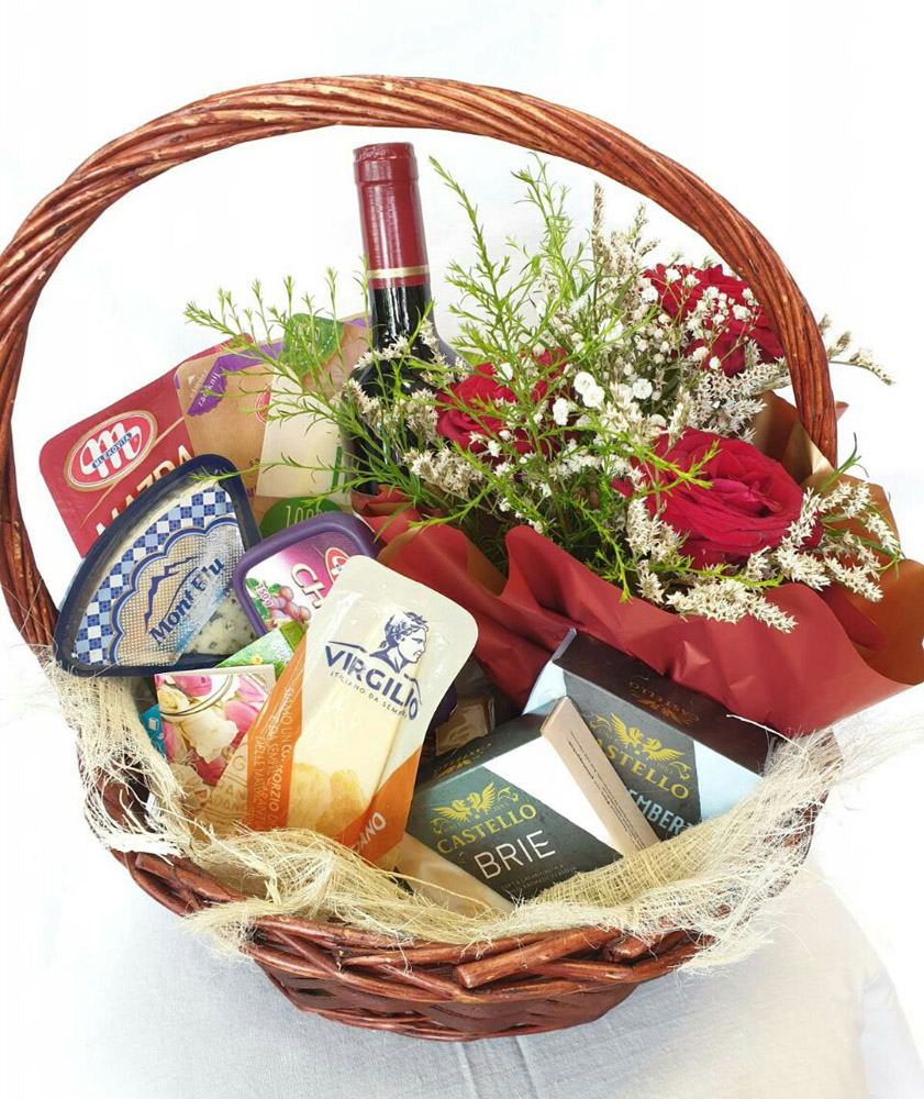 Todoroff Gift Basket, Cheese and Roses