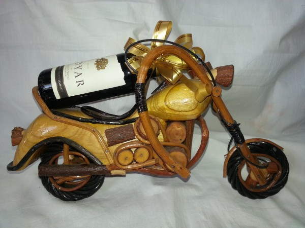 Wooden Motorcycle and Red Wine