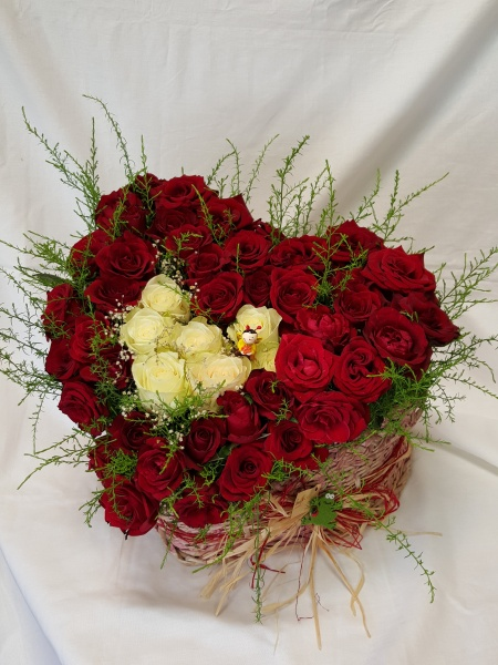 Red and White Roses Basket