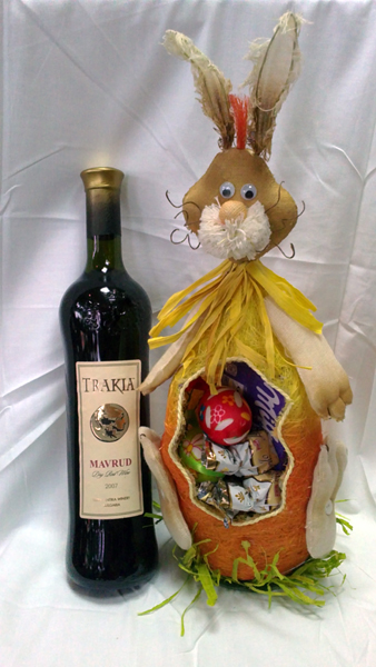 Easter Basket with Red Wine