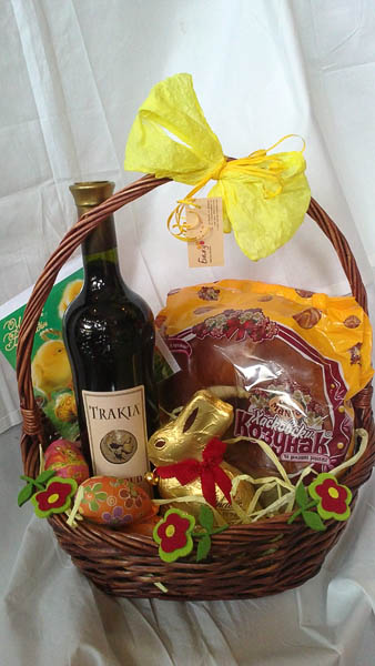 Easter Basket with Red Wine and Chocolate Bunny